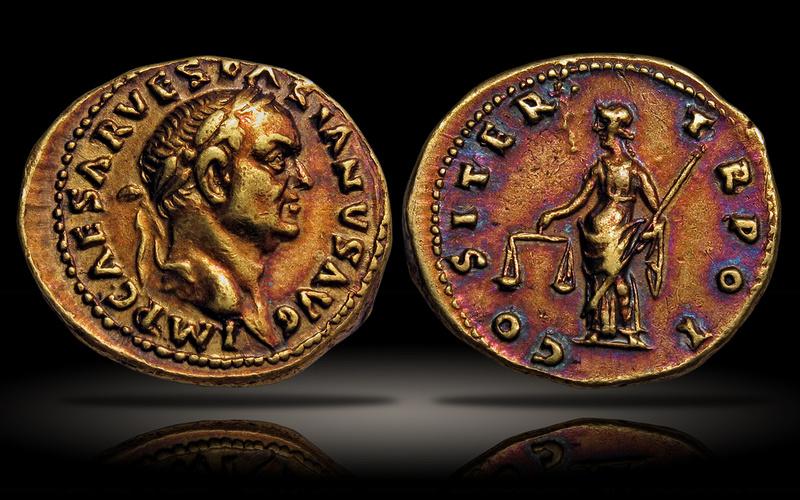 The Vespasian Aureus a rare example of gold coin toning