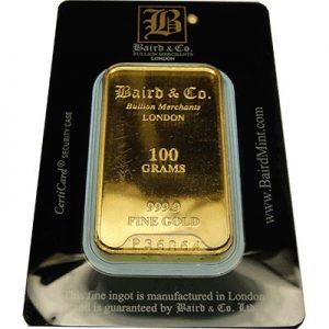 100g Baird & Co Minted Gold Bullion Bar